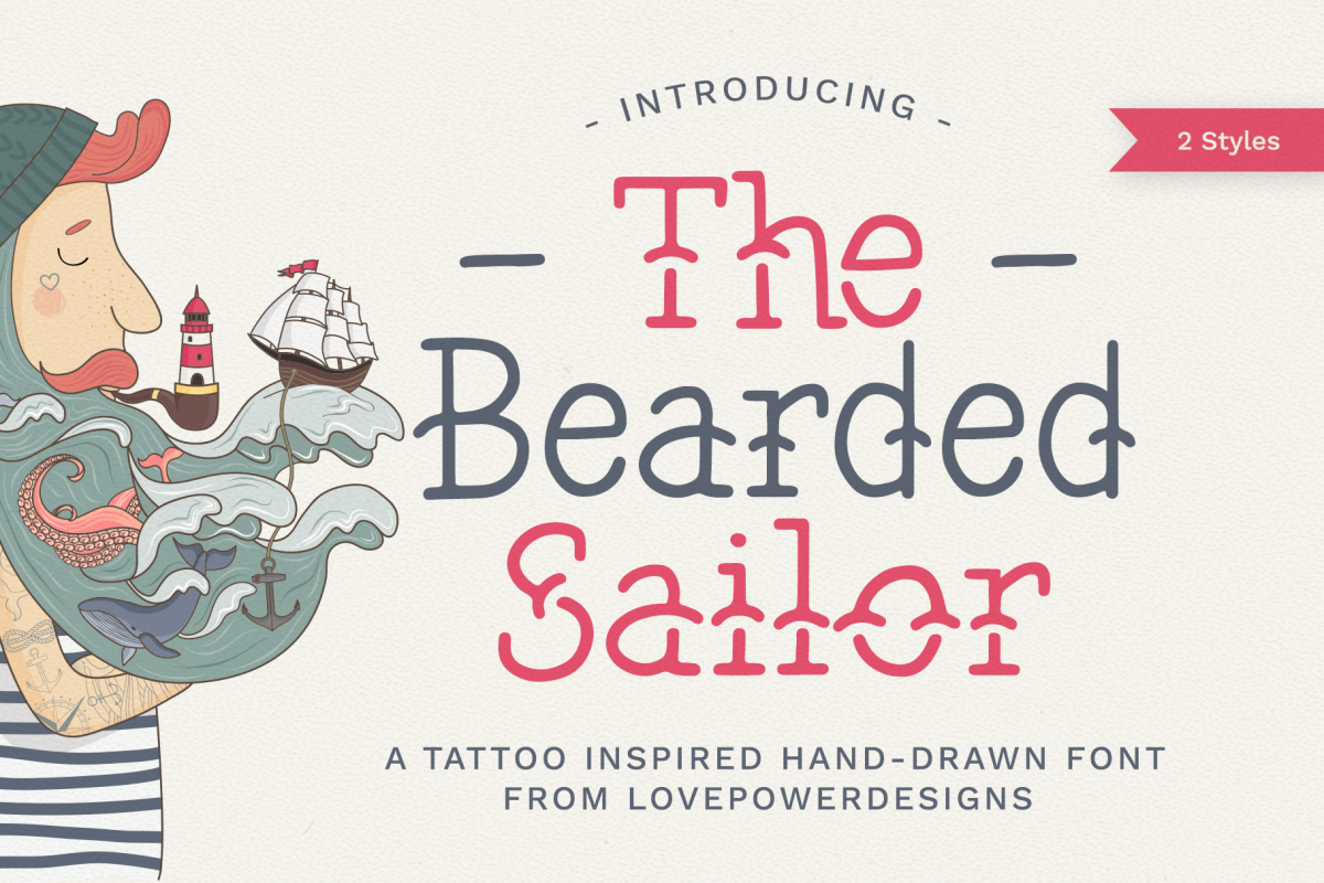The Bearded Sailor - Tattoo Font example image