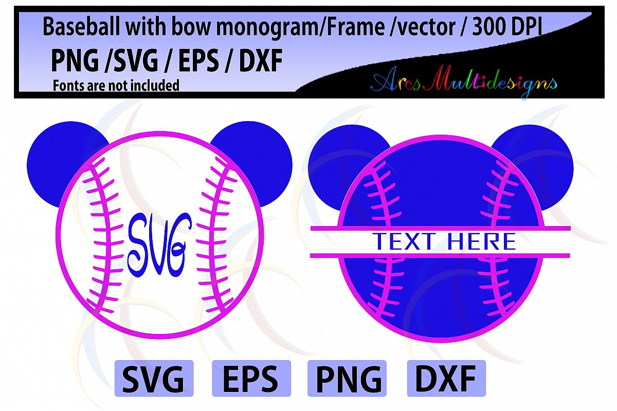 Baseball / Softball with bow Svg Dxf Pn | Design Bundles