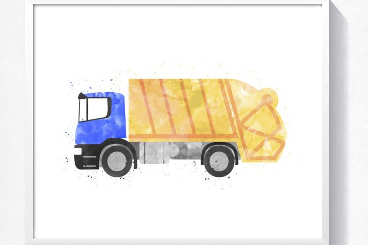 Watercolor garbage truck printable, tru | Design Bundles
