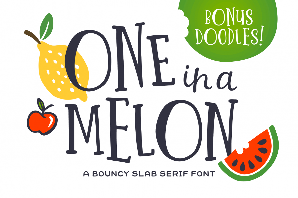 One in a Melon Font + Doodles! example image