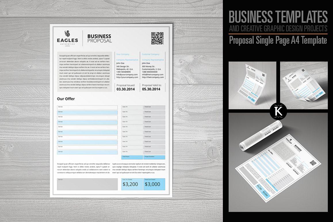 Proposal Single Page A4 Template by Keb | Design Bundles