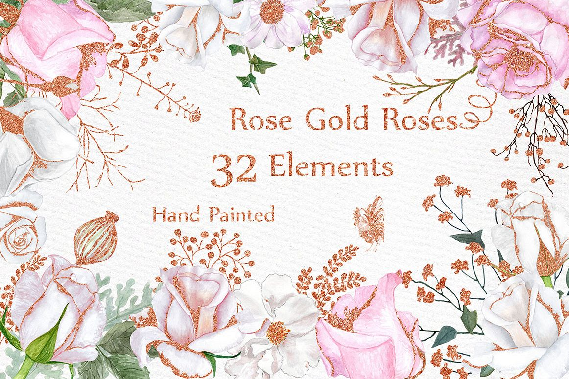 Rose gold watercolor flowers clipart by design bundles rose gold watercolor flowers clipart example image mightylinksfo