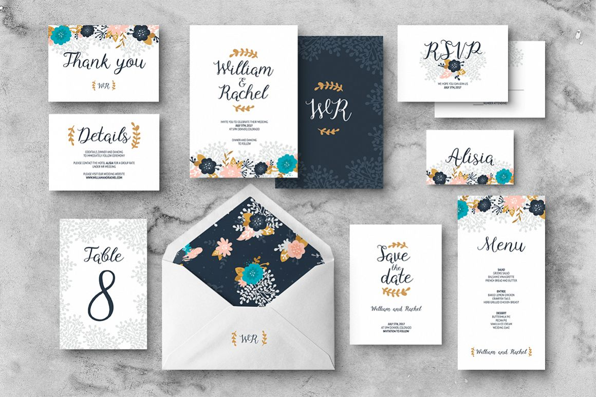 Floral Wedding Invitation Suite example image