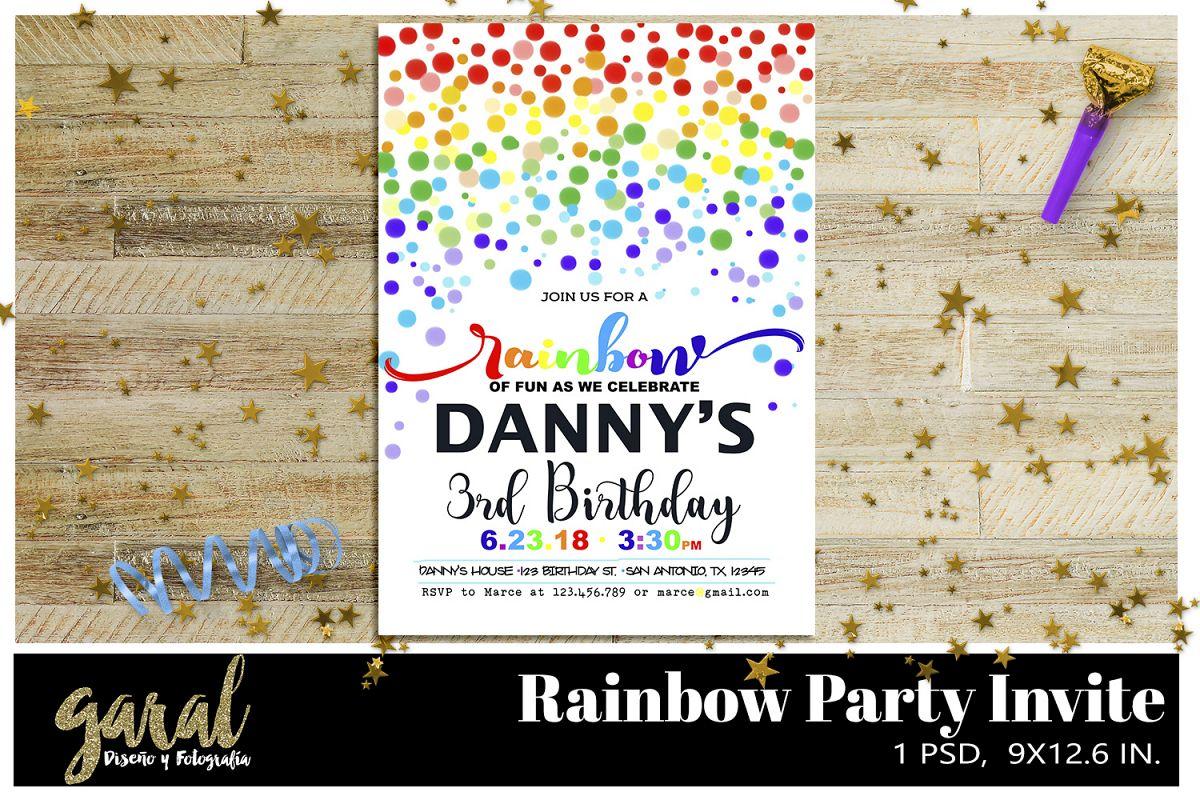Rainbow Party invitation by Garal Photo Design Bundles