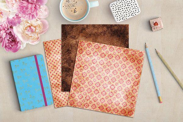 Pink and Brown Digital Scrapbook Paper example image 3