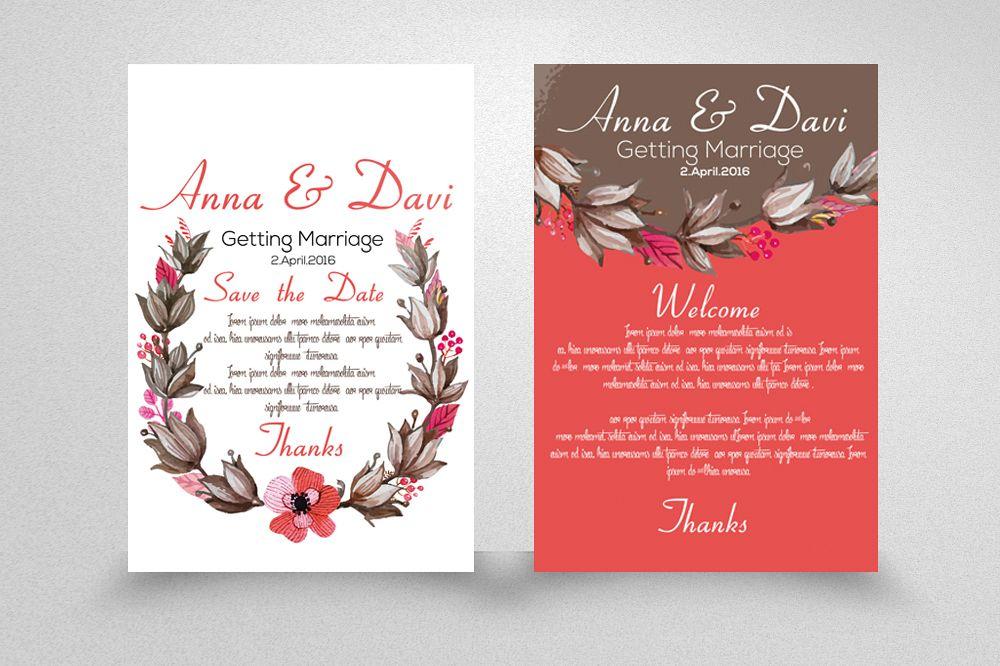 Wedding Double sided Invitation Cards b