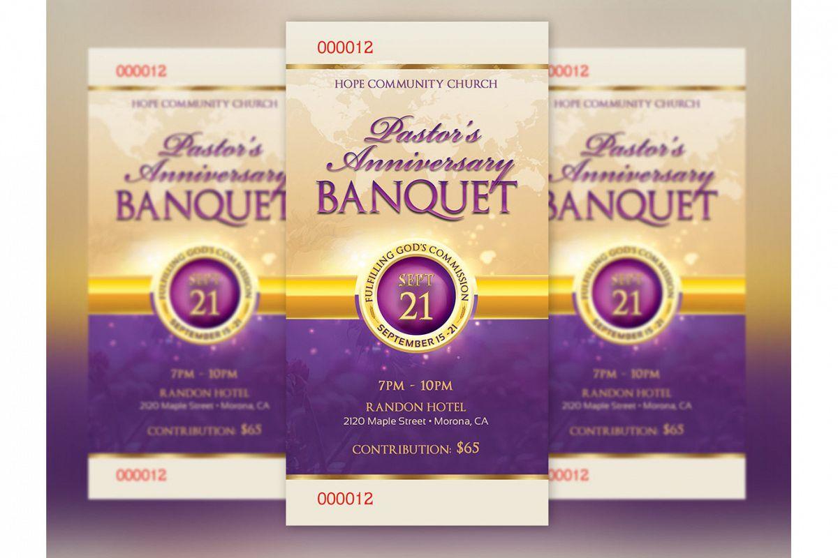 Clergy Anniversary Banquet Ticket Templ | Design Bundles