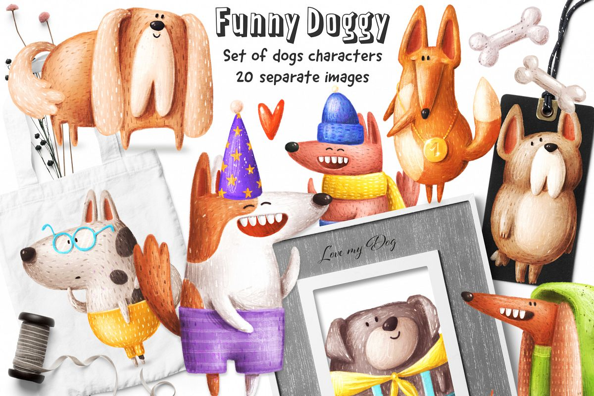 Set of funny Dogs example image