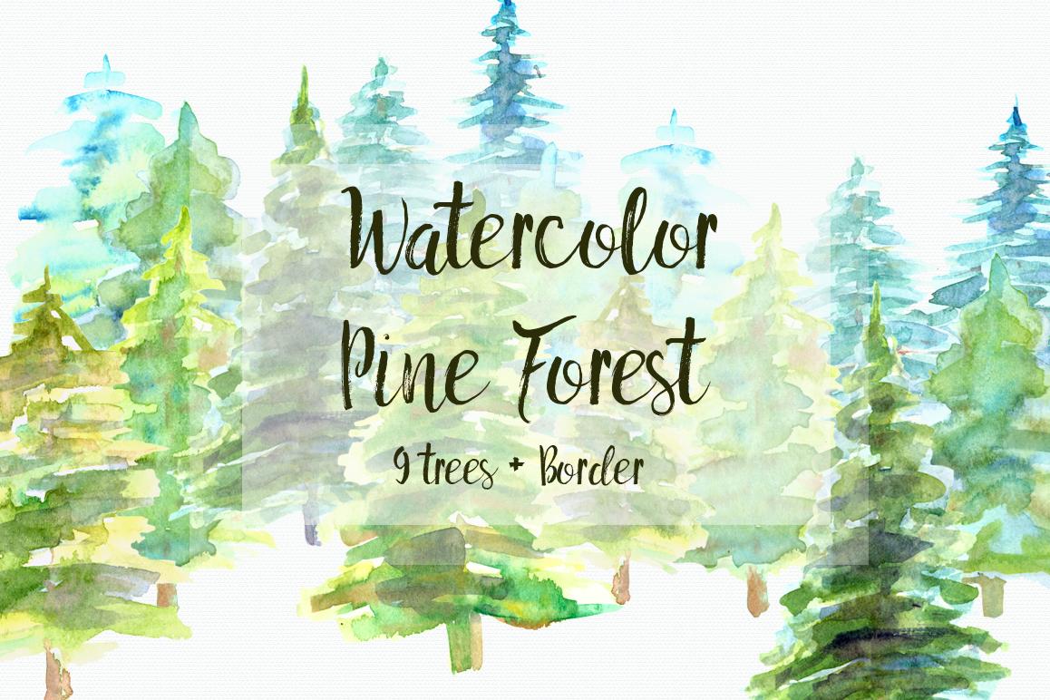 Watercolor Pine Trees Clip Art by TatiB | Design Bundles