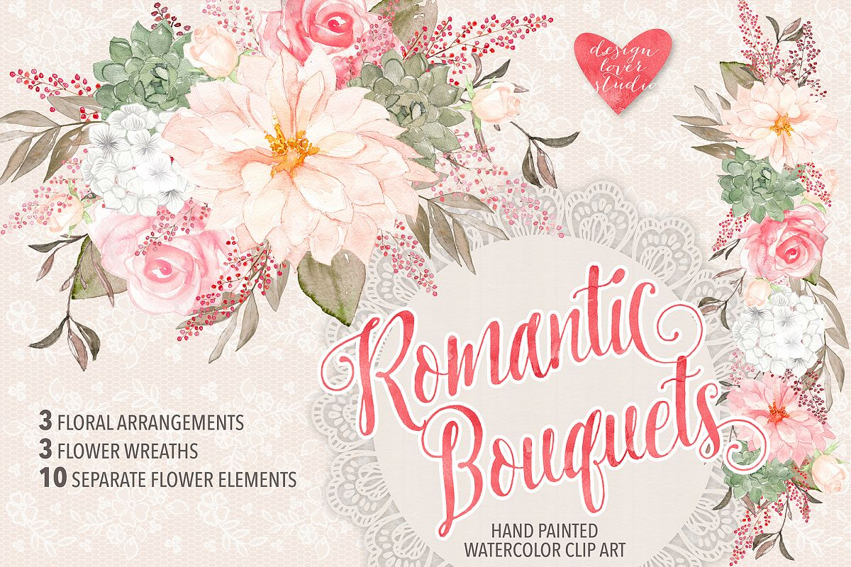 Watercolor Rose Romantic Garden clipart example image