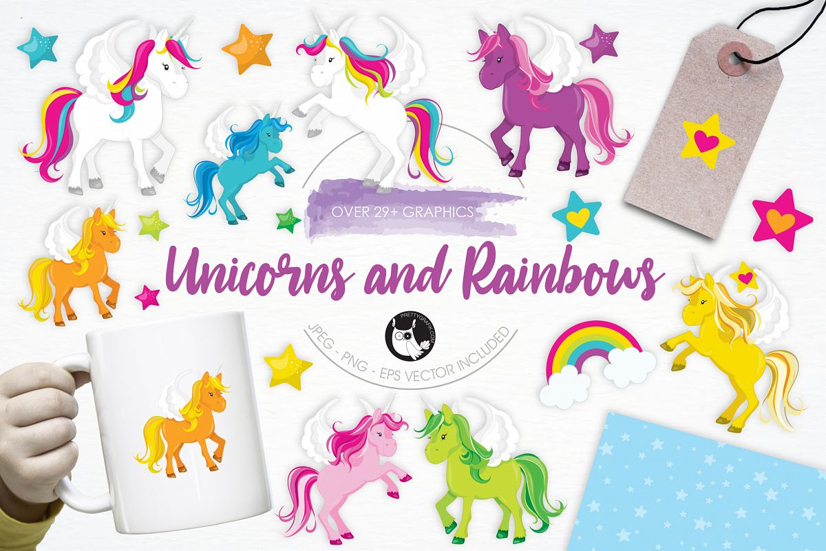 Unicorns and Rainbows graphics and illustrations example image