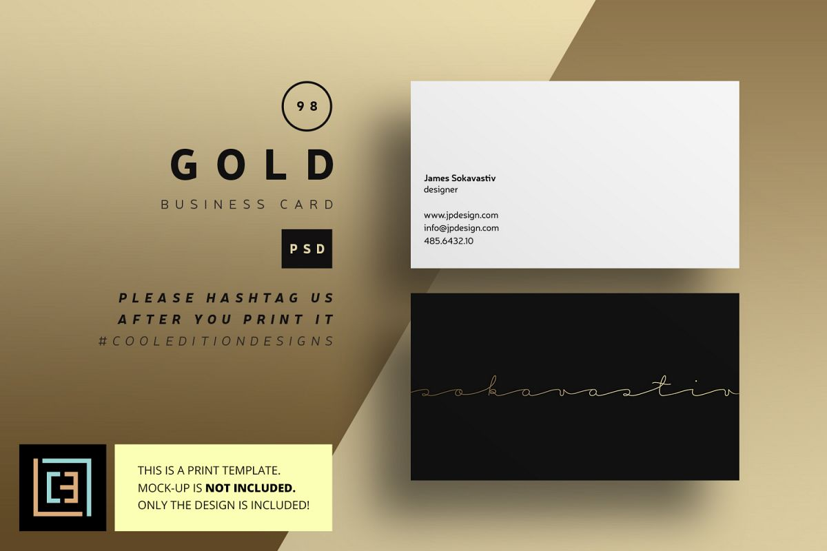 Gold Business Card - BC098 by Coolediti | Design Bundles