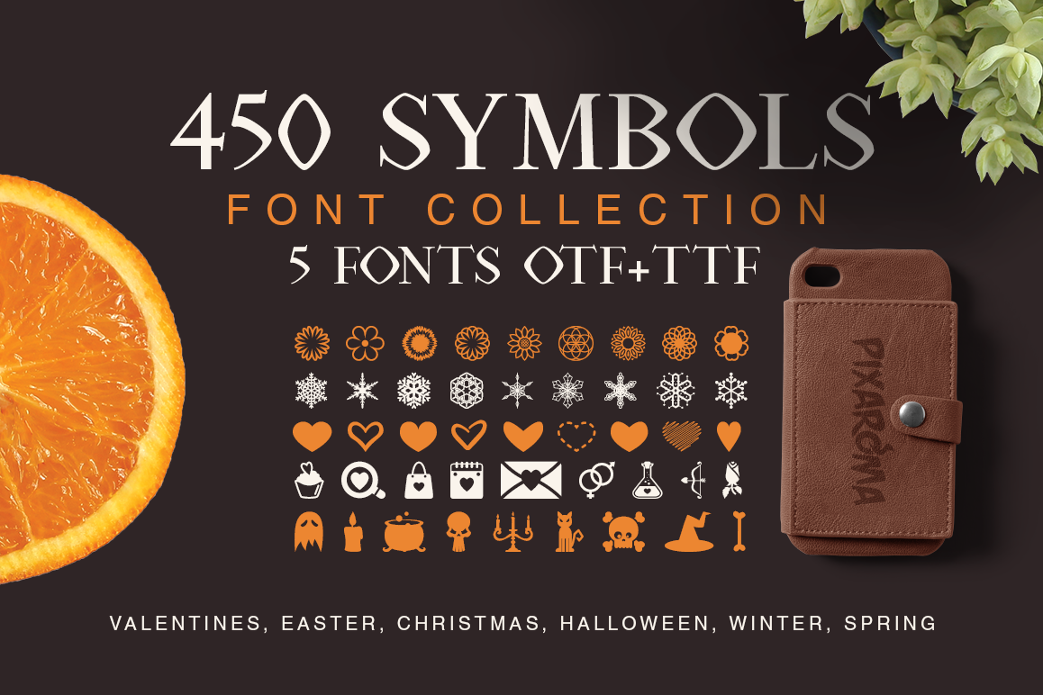 Symbols Font Collection - 450 Elements example image