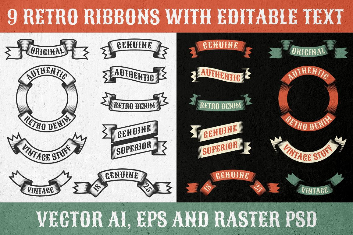 Authentic retro ribbons example image
