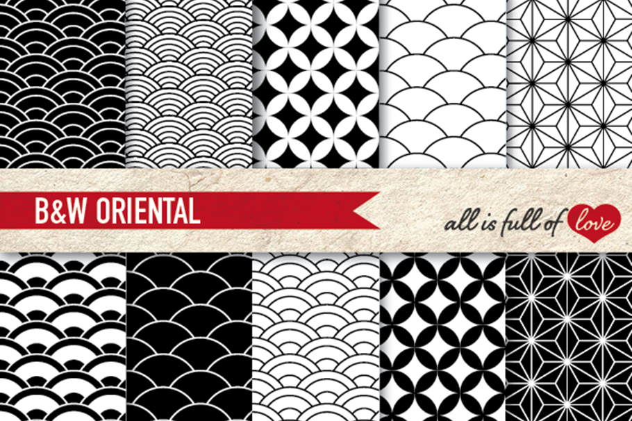 Japanese Graphics Oriental Background Patterns In Black And White Example Image
