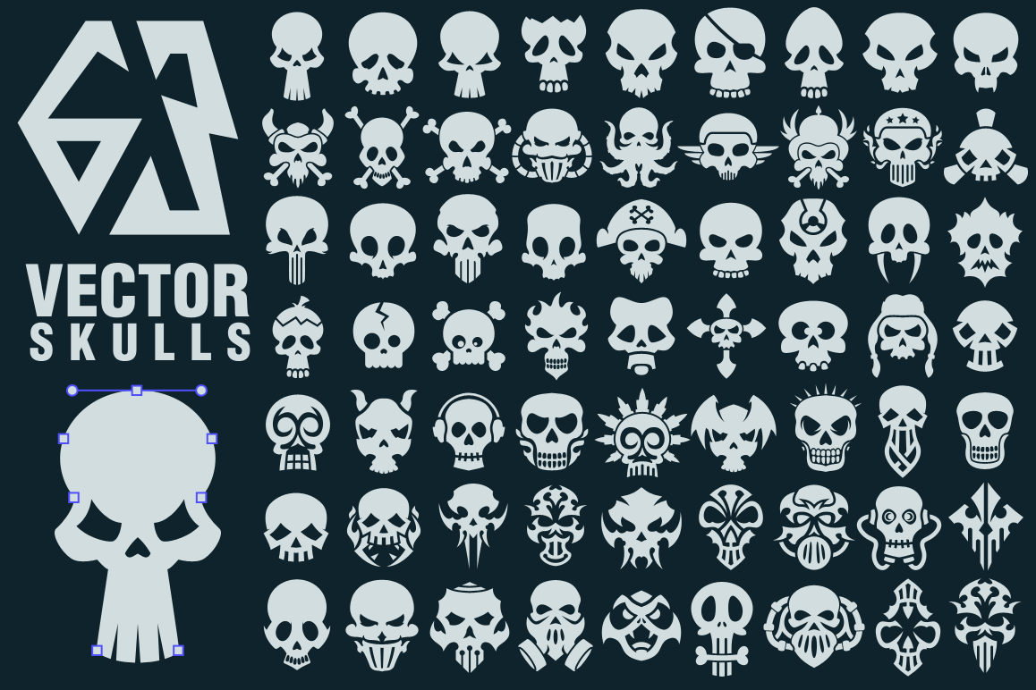 63 Vector Skulls Collection example image