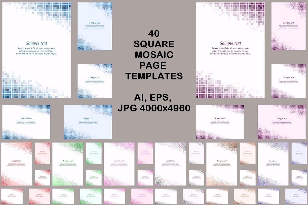 40 square mosaic page templates (AI, EPS, JPG 5000x5000) example image