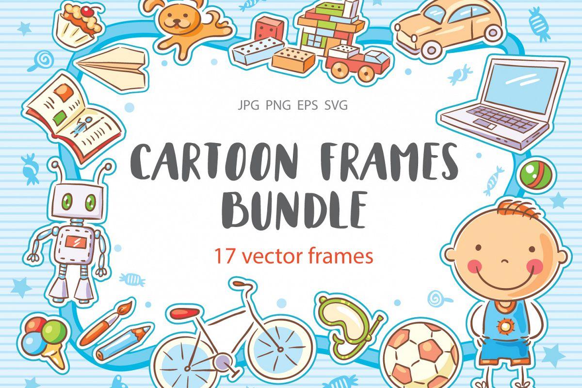 Cartoon frames bundle, collection, scho | Design Bundles