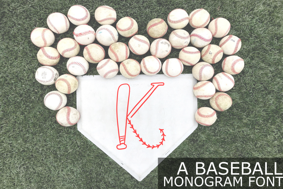 Baseball Monogram Font example image