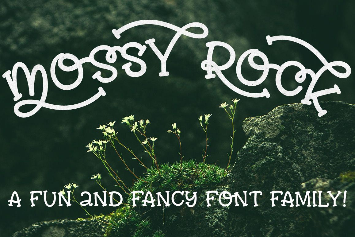 Mossy Rock fun font family! example image
