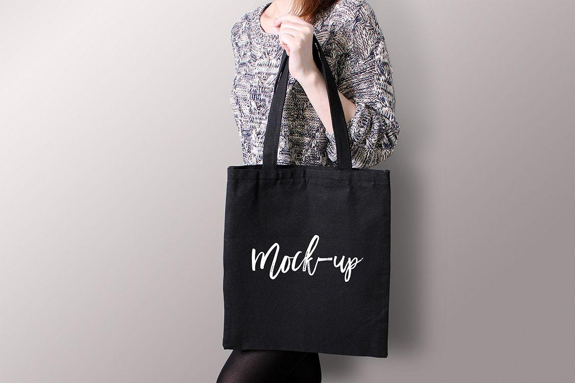 Black Tote Bag Mockup by MaddyZ Art & P