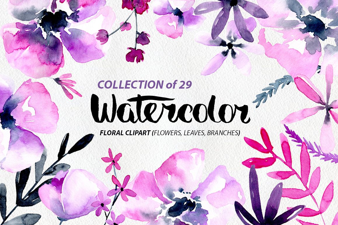 Purple Pink Watercolor Flowers Png Example Image