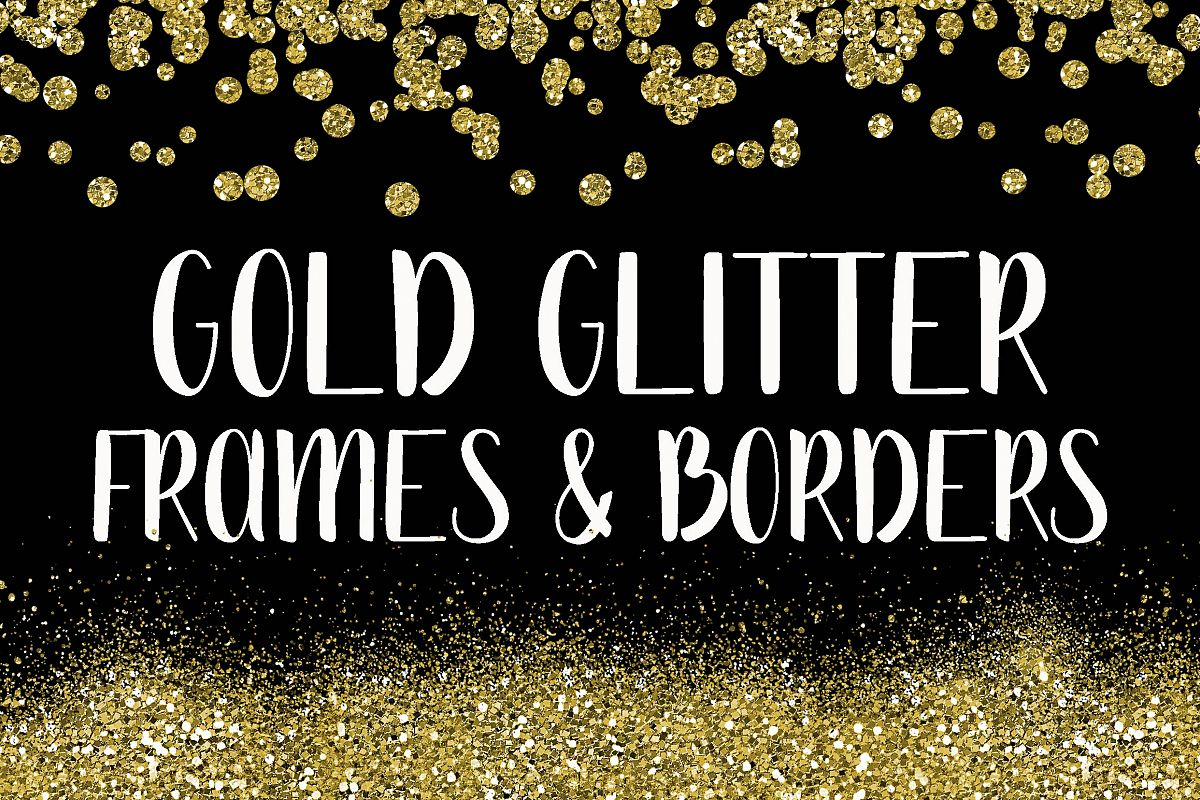 Gold Glitter Frames and Borders PNG Cli | Design Bundles