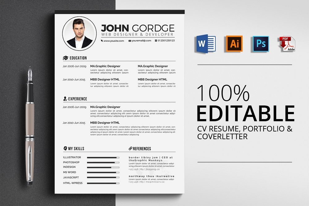 3 Pages Cv Resume Templates Example Image