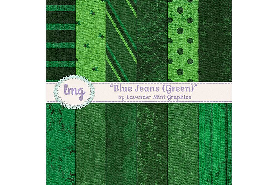 Green Blue Jean Digital Papers example image