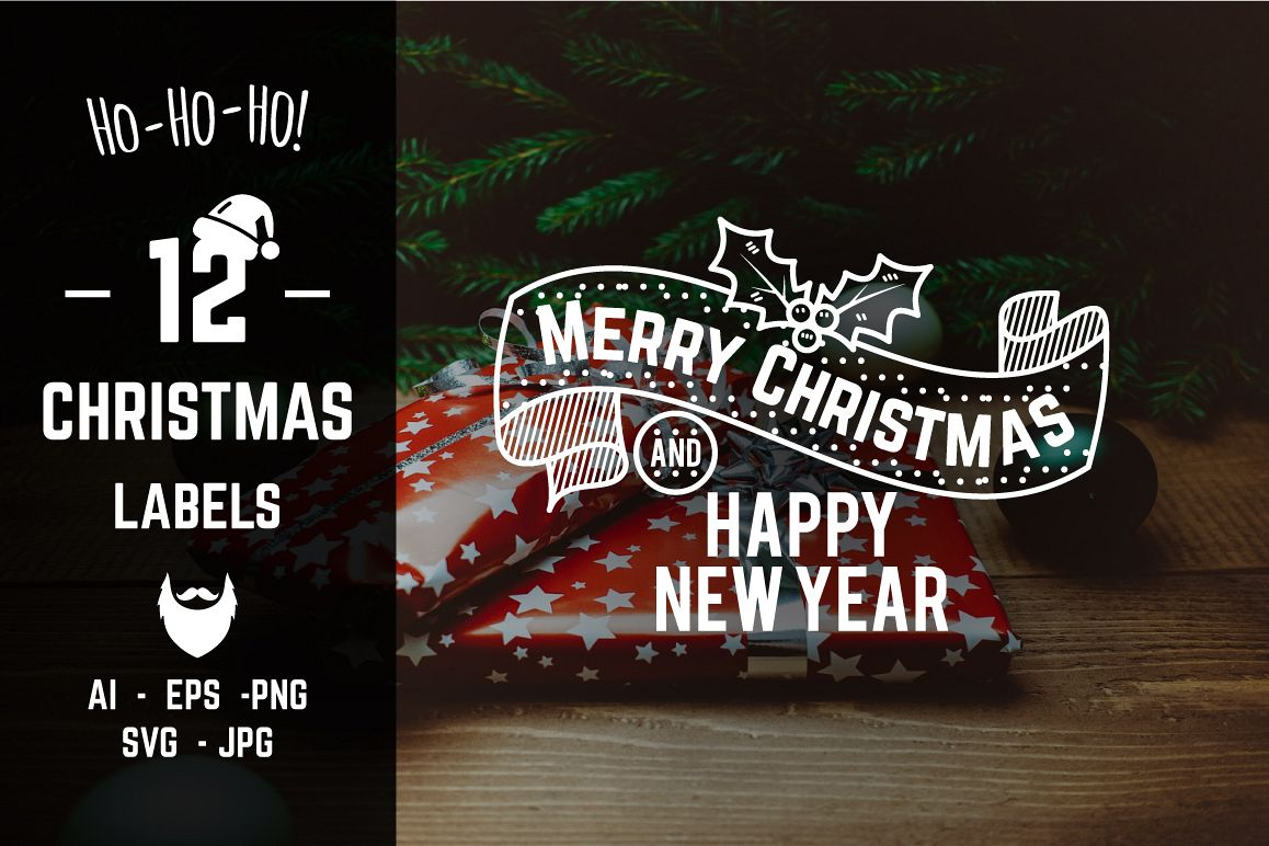 Christmas & New Year Labels & Badges example image