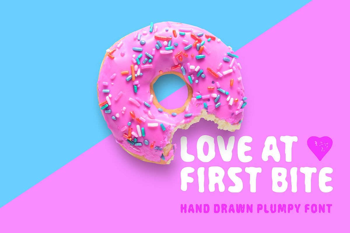 Love At First Bite - handcrafted sans serif font example image
