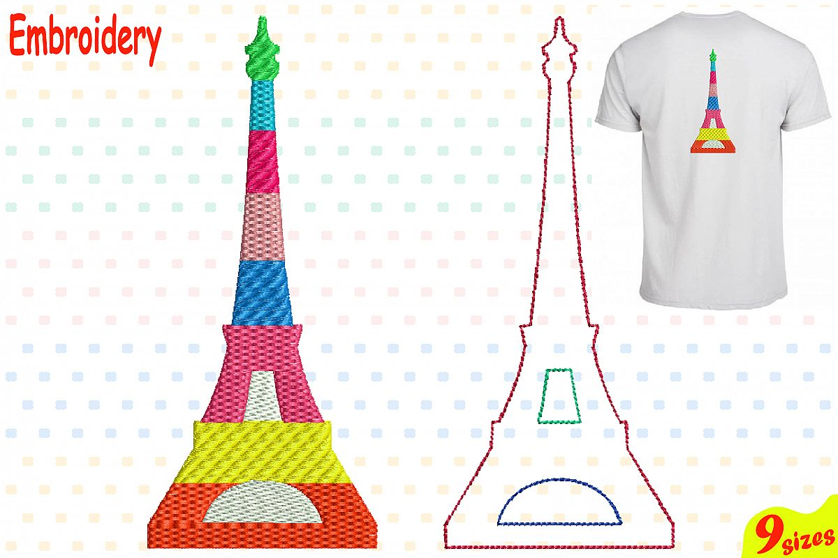 Paris Eiffel Tower Embroidery Design Ma Design Bundles