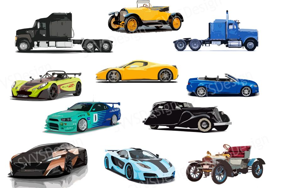 Bundle, Sport Cars, Retro Cars, Trucks, Clipart, Vector, SVG,