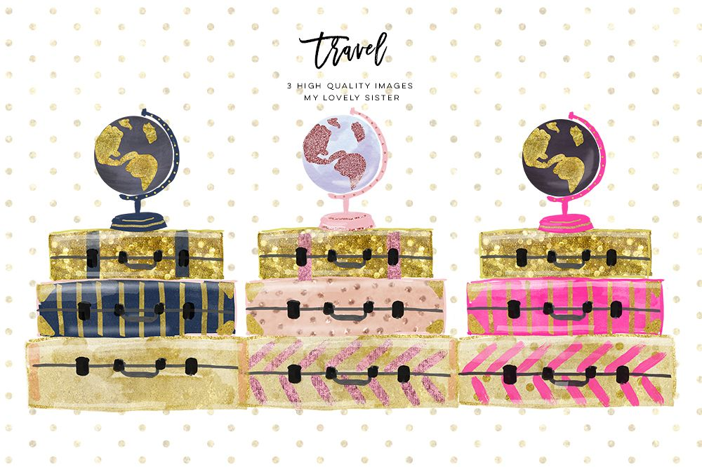 Luggage Clipart Travel Suitcase Girl Globe Graphics Planner Sticker