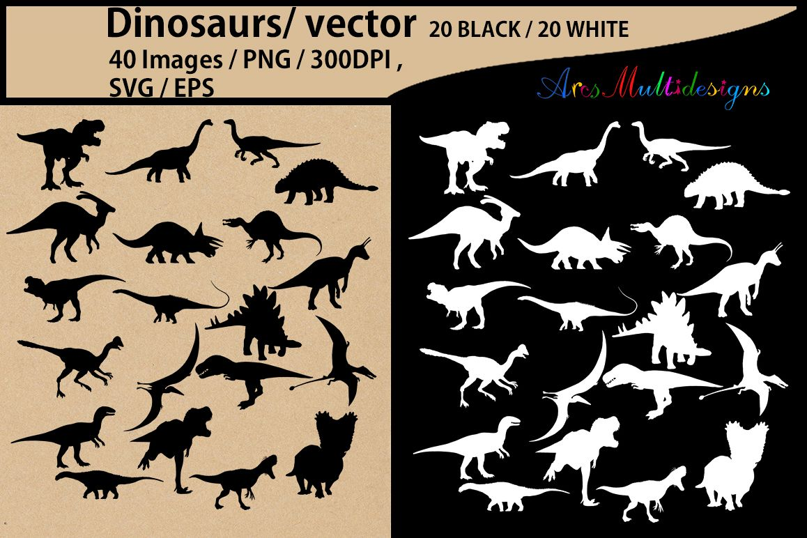 Dinosaurs silhouette svg / dinosaur Clipart, Iron on Transfer, Scrapbooking & Crafts / SVG template / EPS / PNG /animal silhouette / vector example image