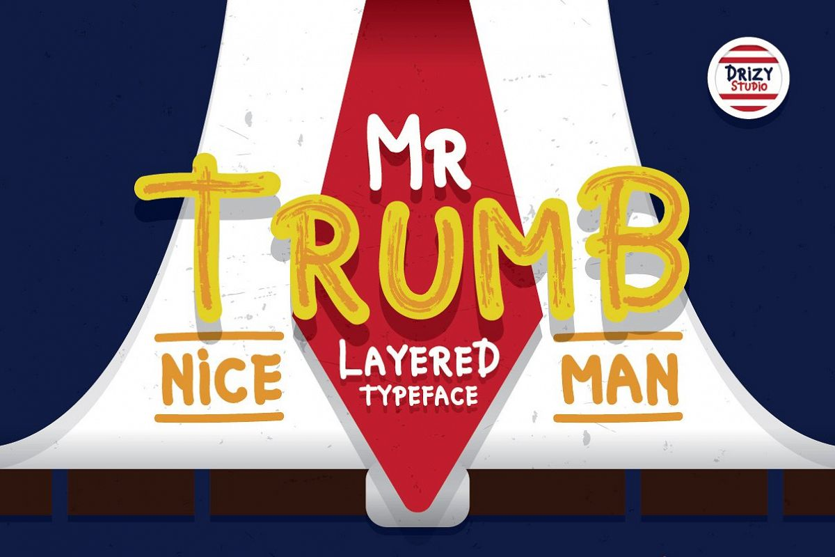 Mr Trumb Layered Typeface example image