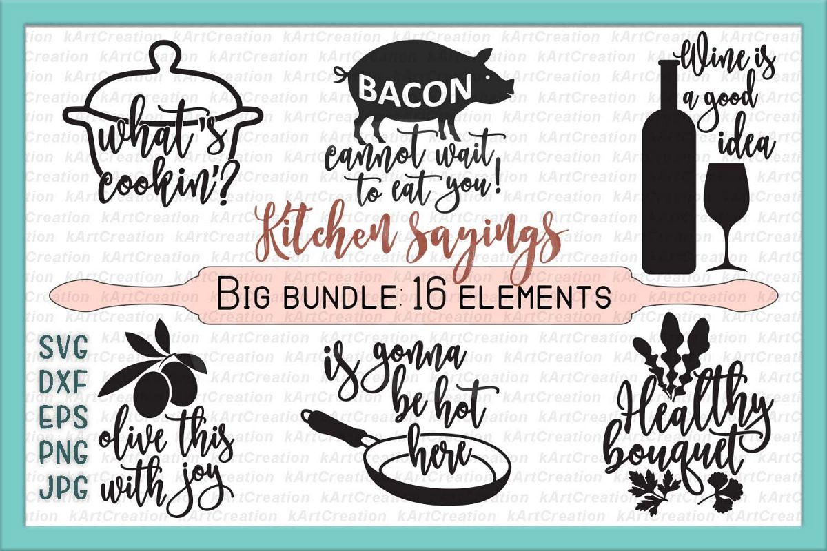 Kitchen svg chicken svg kitchen towel design bundles for Kitchen design quotes