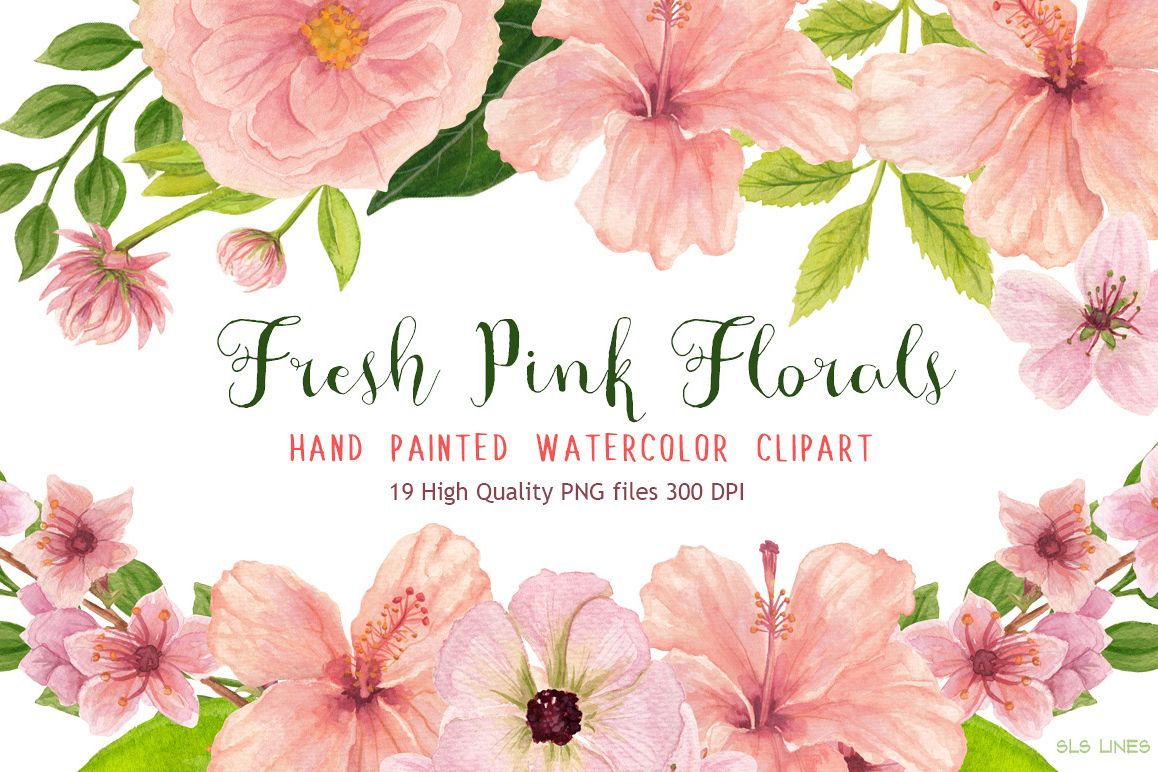 Pink floral watercolors hibiscus by sal design bundles pink floral watercolors hibiscus example image izmirmasajfo
