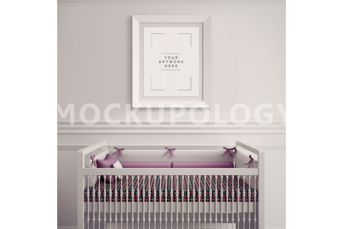 8x10 White Frame Nursery Interior Mockup, Baby Cradle Styled Photography Poster Mockup, Plain Wall Background, INSTANT DOWNLOAD example image