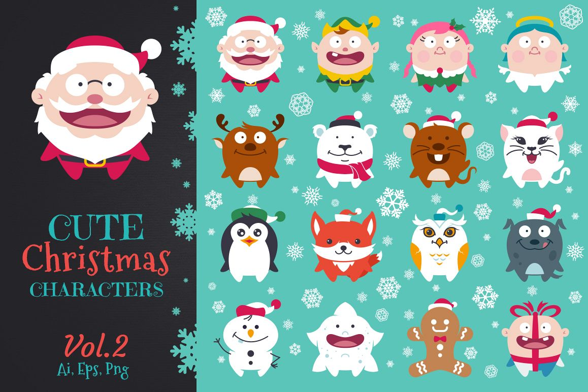 Cute Flat Christmas Characters Vol.2 example image