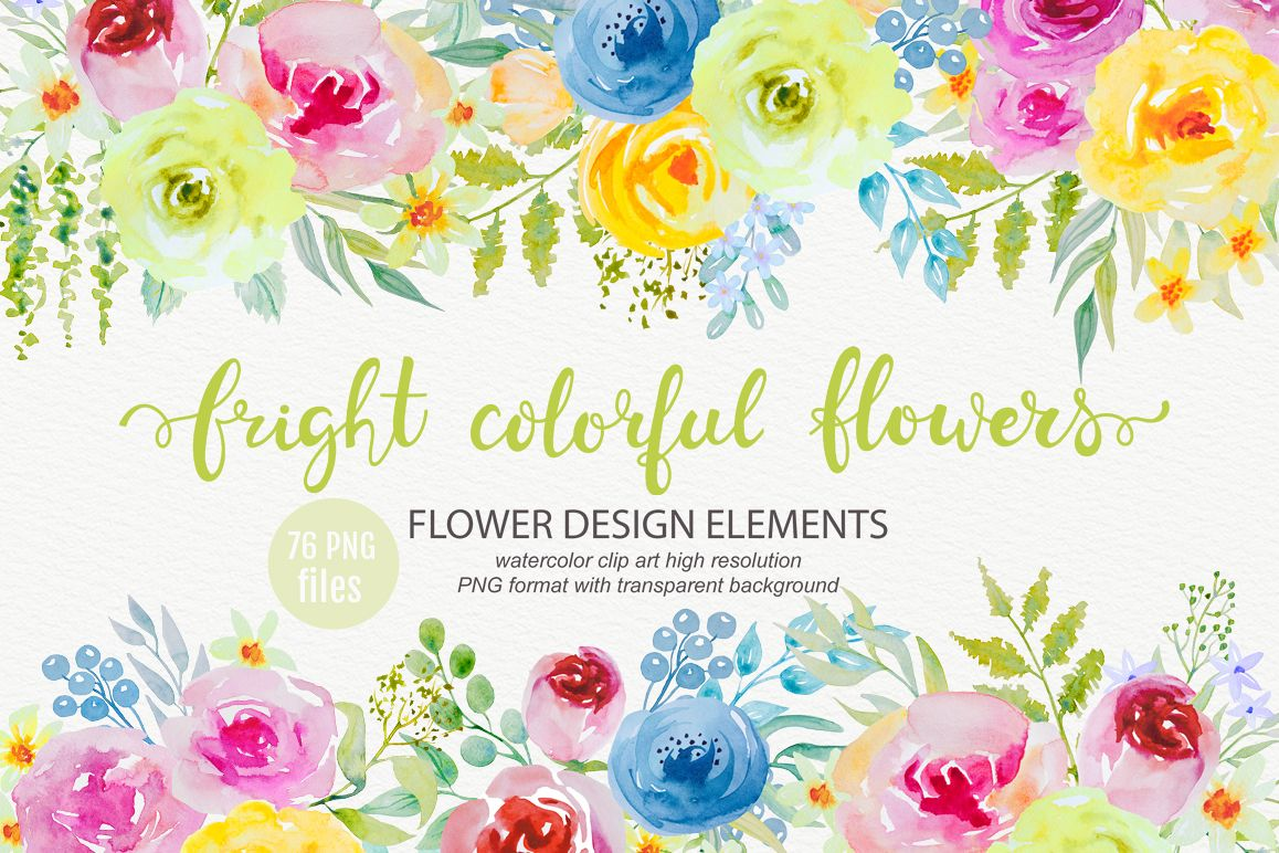 Bright Watercolor Flowers Clipart Example Image