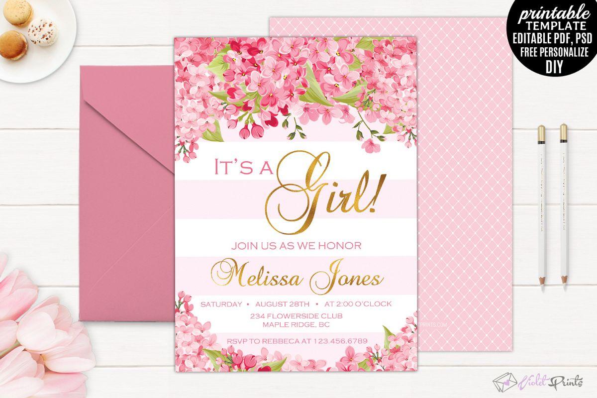 Gold and Pink Flowers Baby Shower Invit | Design Bundles