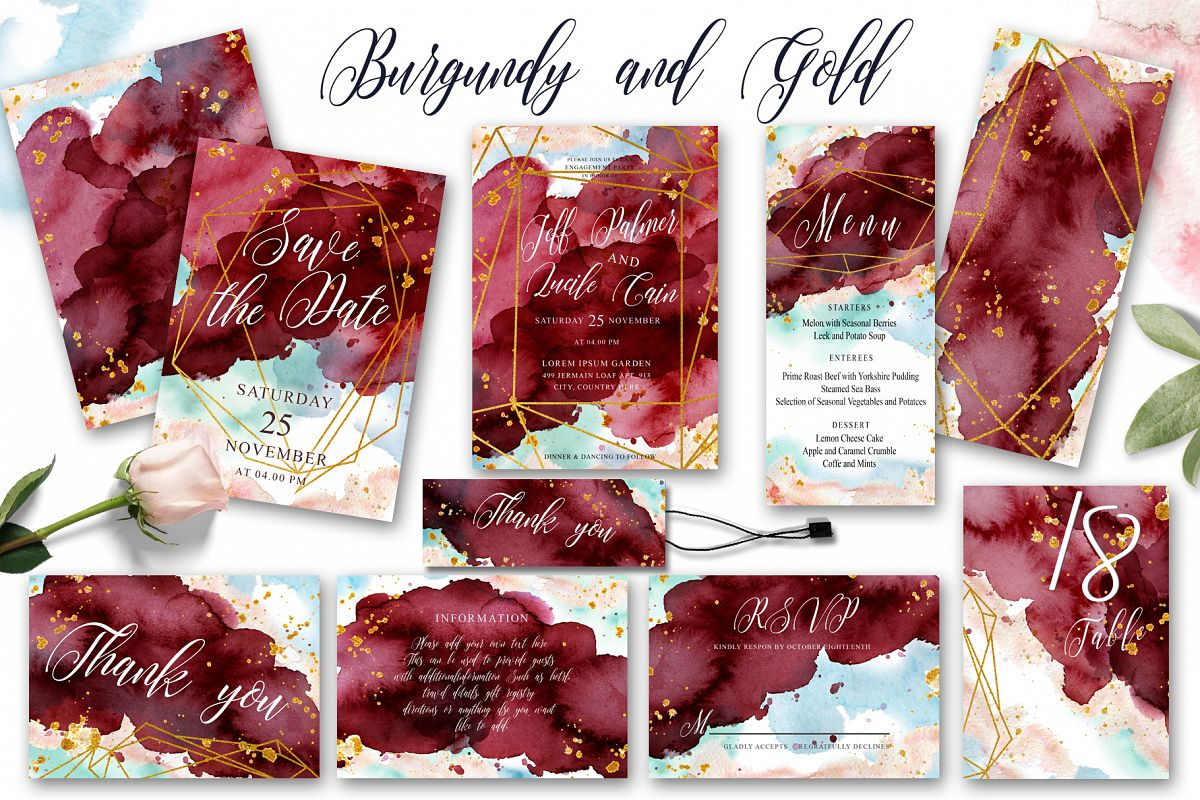 Burgundy and Gold Watercolor Wedding In | Design Bundles
