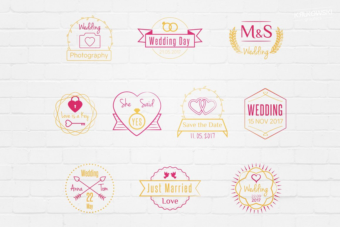 Wedding Stamp Vector Badges Logos example image