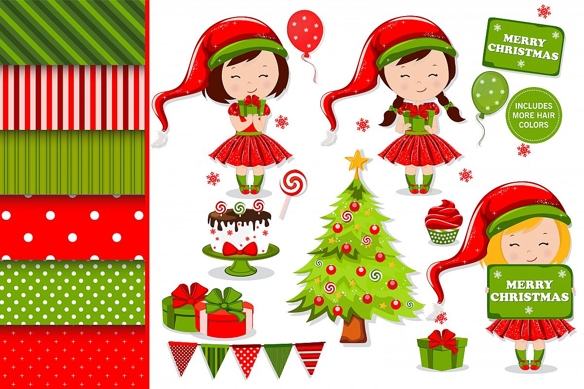 Christmas girl illustration, Christmas digital papers example image
