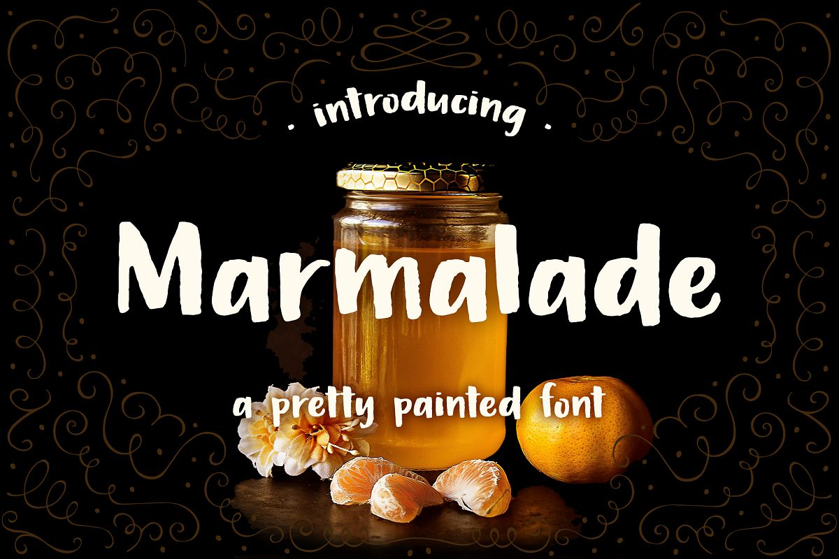 Marmalade, a hand painted font example image