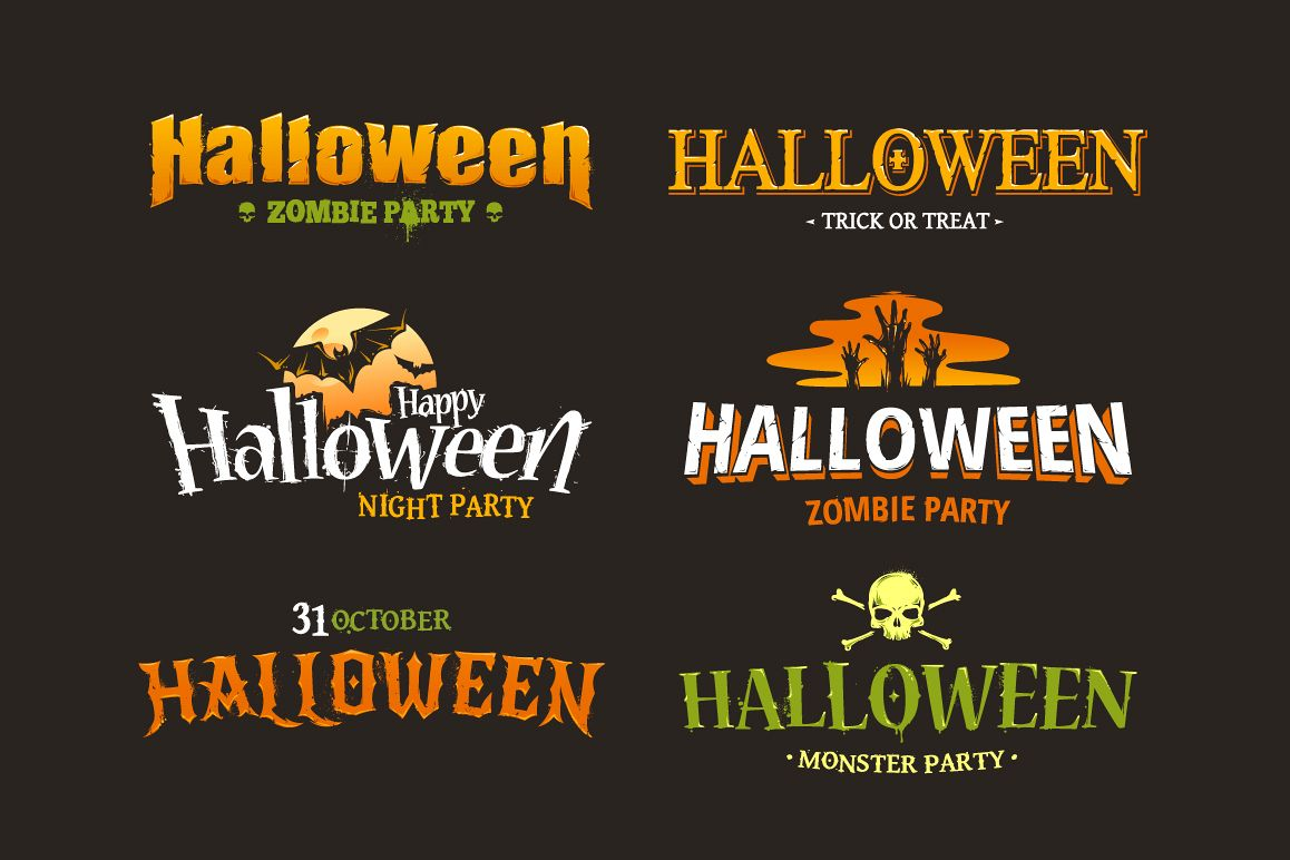 Halloween Typography Set example image
