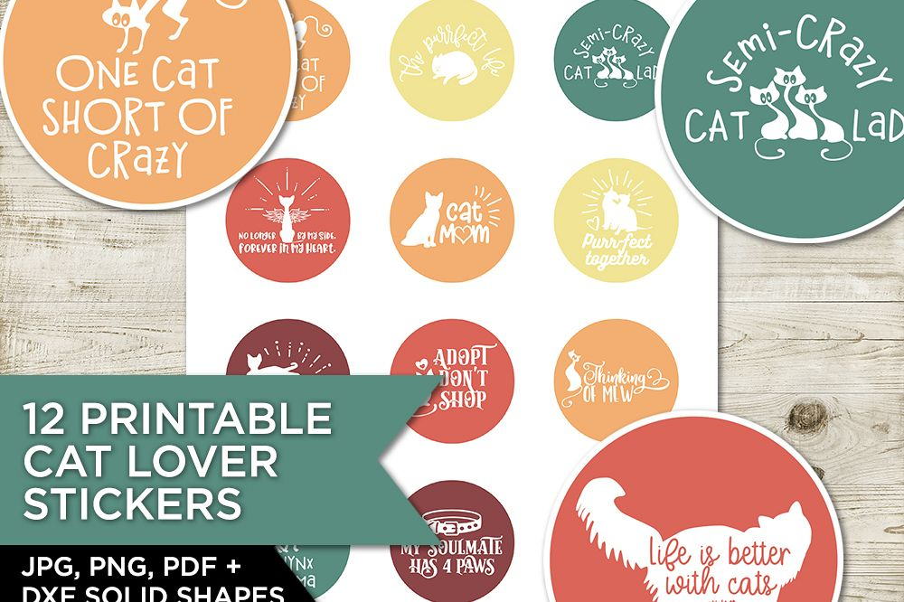 12 Cat Lover Stickers/ Cupcake Toppers example image