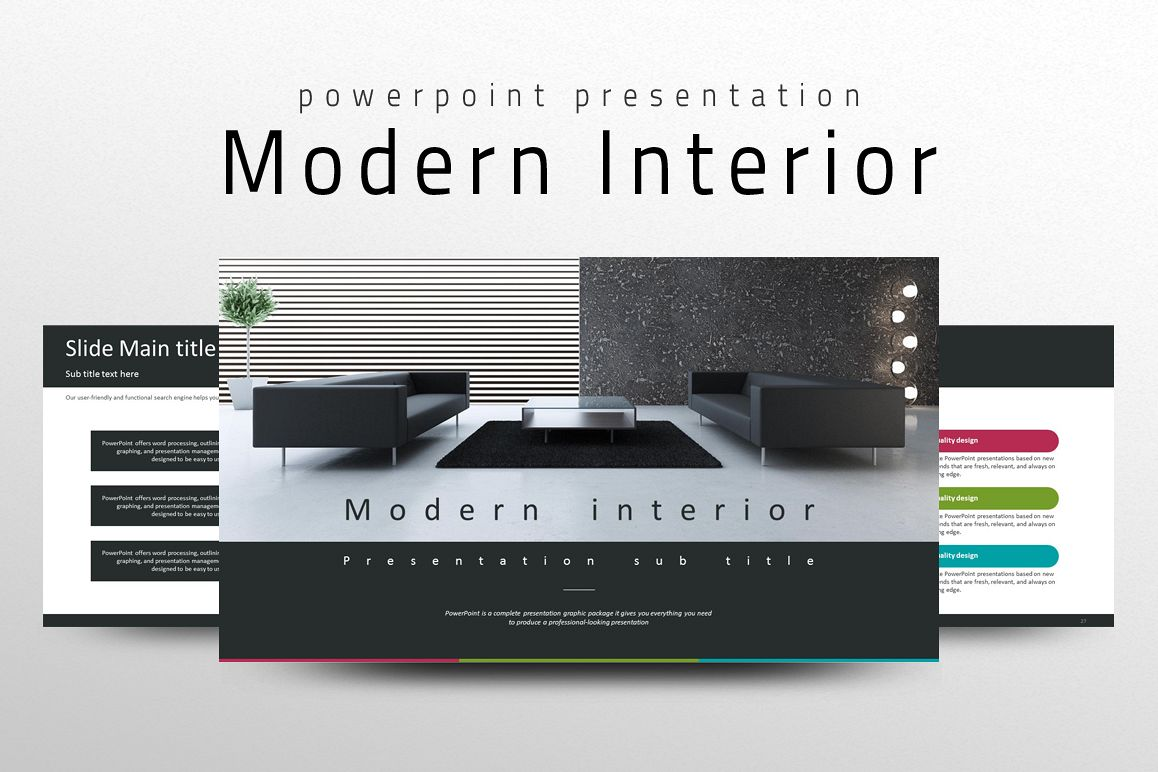 Modern interior ppt template by goodpel design bundles for Interior design layout templates