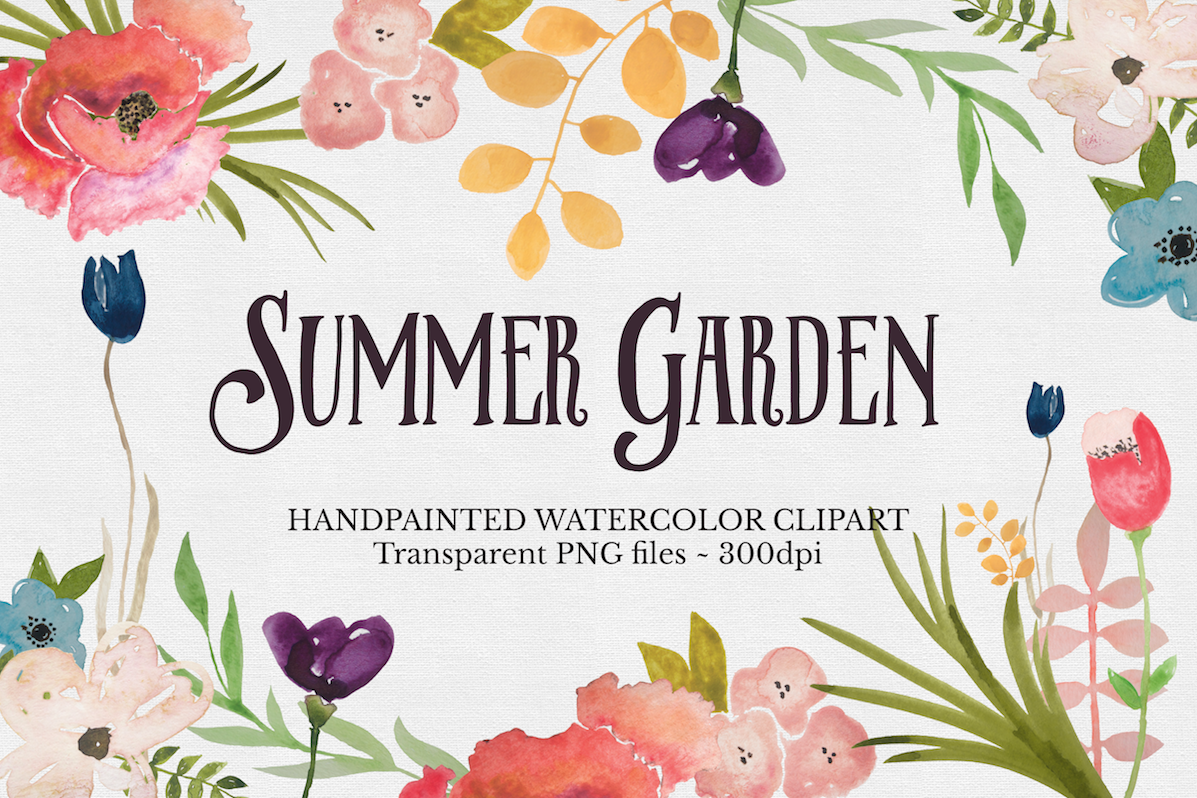 Watercolor Flower Clipart Set example image